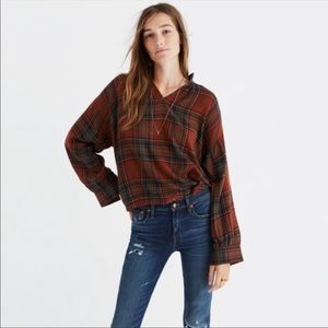 Madewell Plaid Popover Blouse